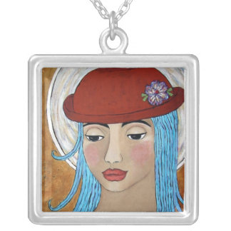 Angel in a Red Hat Square Pendant Necklace