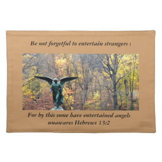 Angel in Autumn woods place mat