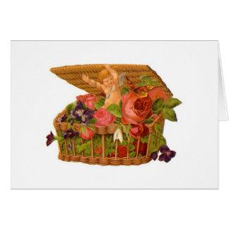 Angel in Basket of Flowers Card