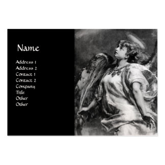ANGEL IN BLACK AND WHITE PEARL PAPER BUSINESS CARDS