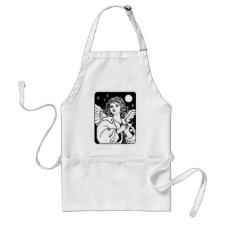Angel in Black and White With Doves Apron