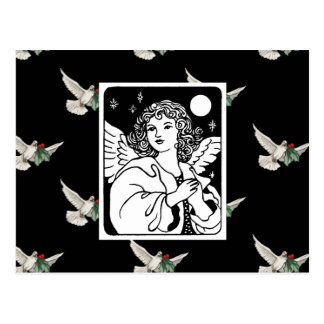 Angel in Black and White With Doves Postcard