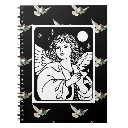 Angel in Black and White With Doves Spiral Notebook