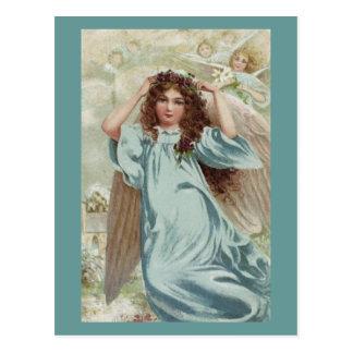 Angel In Blue Dress And Flower Garland Postcard