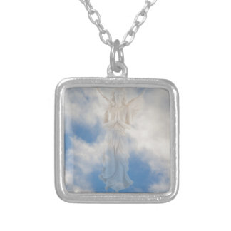 Angel in blue heaven cloudy sky by healing love square pendant necklace