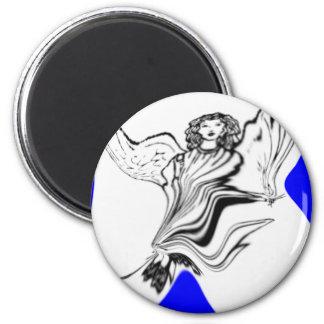 angel in blue refrigerator magnets