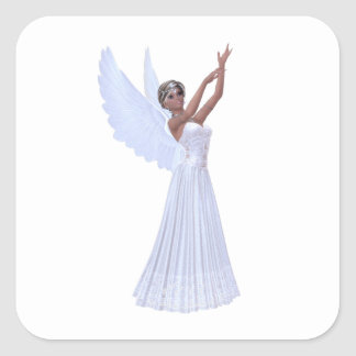 Angel in Blue Square Sticker
