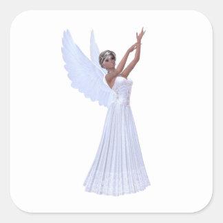 Angel in Blue Square Sticker