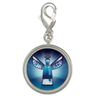 Angel In Blue Stained Glass Charm