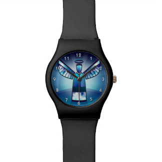 Angel In Blue Stained Glass Wrist Watches