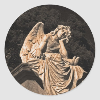 angel in contemplation classic round sticker