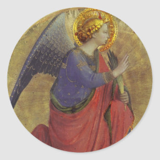Angel in Gold Classic Round Sticker
