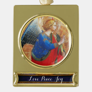 ANGEL IN GOLD RED AND BLUE GOLD PLATED BANNER ORNAMENT
