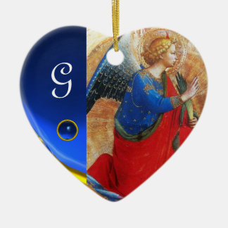 ANGEL IN GOLD RED AND BLUE Heart Gemstone Monogram Ceramic Ornament