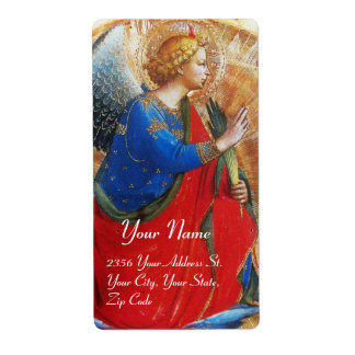 ANGEL IN GOLD RED AND BLUE LABEL