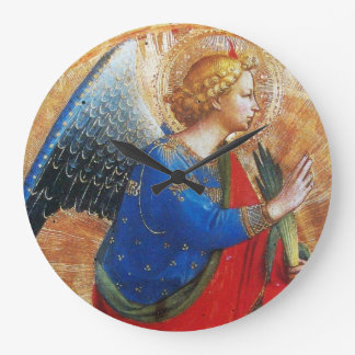 ANGEL IN GOLD RED AND BLUE LARGE CLOCK