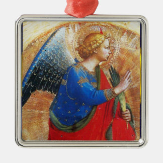 ANGEL IN GOLD RED AND BLUE METAL ORNAMENT