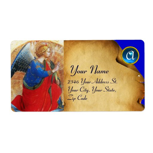 ANGEL IN GOLD RED AND BLUE MONOGRAM PERSONALIZED SHIPPING LABELS