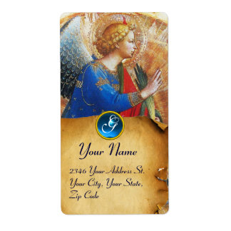 ANGEL IN GOLD RED AND BLUE MONOGRAM LABEL