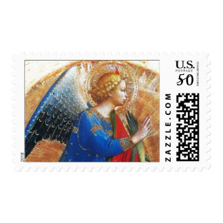 ANGEL IN GOLD RED AND BLUE POSTAGE