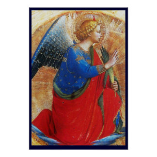ANGEL IN GOLD RED AND BLUE POSTER