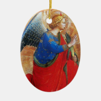 ANGEL IN GOLD RED AND BLUE, Sapphire Gem stone Ceramic Ornament