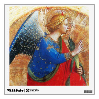 ANGEL IN GOLD RED AND BLUE WALL STICKER