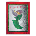 Angel in Green Stained Glass Greeting Card