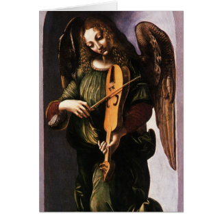 Angel in Green with a Vielle by Leonardo da Vinci Card