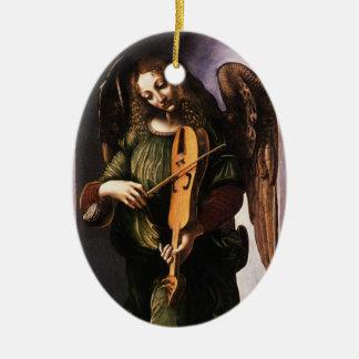 Angel in Green with a Vielle by Leonardo da Vinci Ceramic Ornament