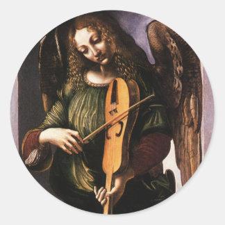 Angel in Green with a Vielle by Leonardo da Vinci Classic Round Sticker