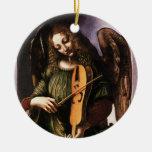 Angel in Green with a Vielle by Leonardo da Vinci Christmas Tree Ornaments