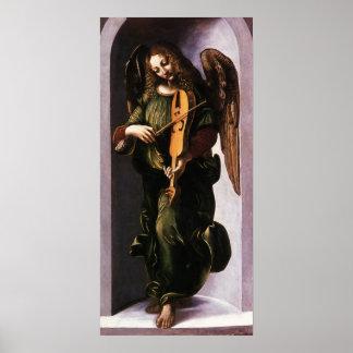 Angel in Green with a Vielle by Leonardo da Vinci Poster