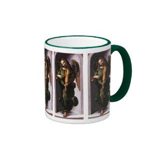 Angel in Green with a Vielle by Leonardo da Vinci Ringer Mug