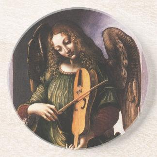 Angel in Green with a Vielle by Leonardo da Vinci Sandstone Coaster