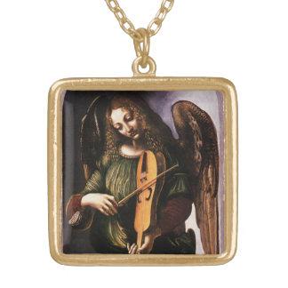 Angel in Green with a Vielle by Leonardo da Vinci Square Pendant Necklace
