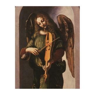 Angel in Green with a Vielle by Leonardo da Vinci Wood Print