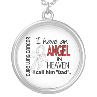 Angel In Heaven Dad Lung Cancer Silver Plated Necklace