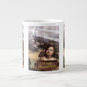 Angel in Madonna of Foligno sees chemtrails Large Coffee Mug