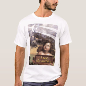 Angel in Madonna of Foligno sees chemtrails tshirt