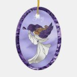 Angel in Purple Stained Glass Double-Sided Oval Ceramic Christmas Ornament