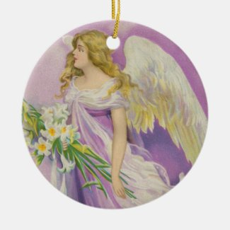 Angel in Purple with Lilies Ceramic Art Ornament