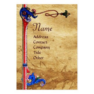ANGEL IN RED,GOLD,BLUE FLORAL PARCHMENT LARGE BUSINESS CARDS (Pack OF 100)