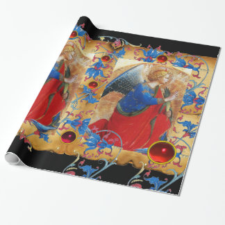 ANGEL IN RED,GOLD, BLUE FLORAL PARCHMENT RED GEMS WRAPPING PAPER