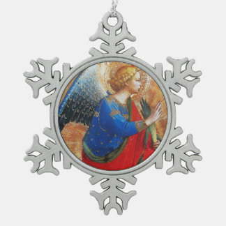 ANGEL IN RED,GOLD, BLUE SNOWFLAKE PEWTER CHRISTMAS ORNAMENT