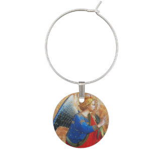 ANGEL IN RED,GOLD, BLUE WINE CHARM