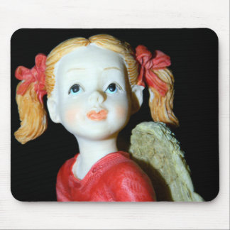Angel in Red Ribbons and Red Shirt Mousepad