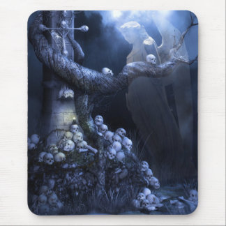 Angel in skull graveyard mouse pad