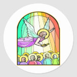 Angel In Stained Glass Window #0011 Classic Round Sticker