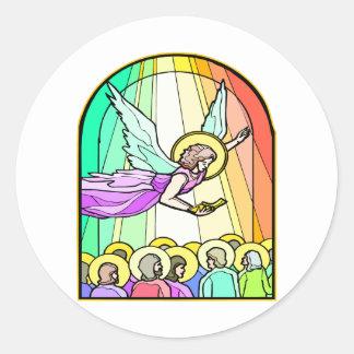 Angel In Stained Glass Window #0011 Round Sticker
